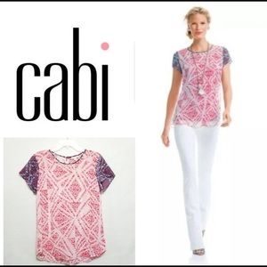 Cabi Croquette Geo pink & blue print blouse small